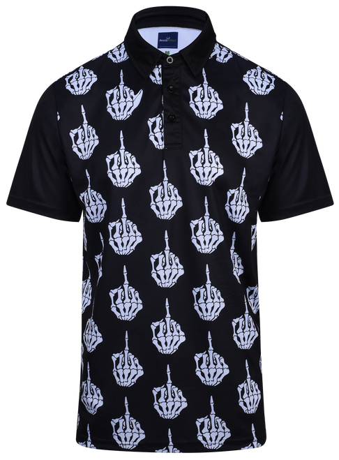 The Bird Middle Finger Mens Golf Polo Shirt by ReadyGOLF