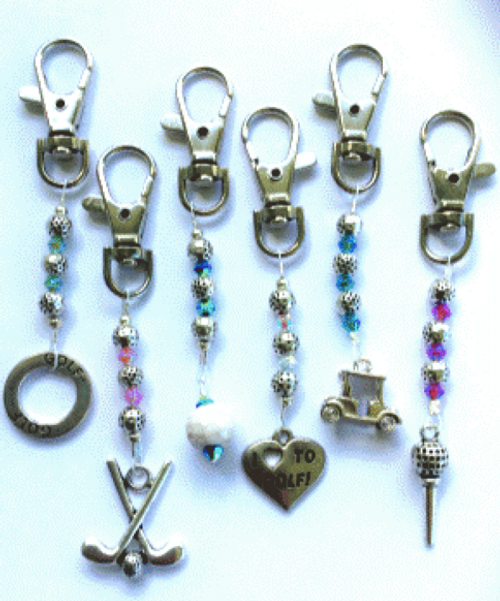 One Putt Designs - Zipper Pulls with Golf Charms (Set of 6)