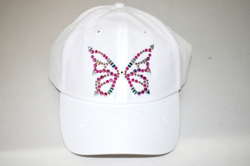 Dolly Mama Ladies Baseball Hat - Butterfly on White
