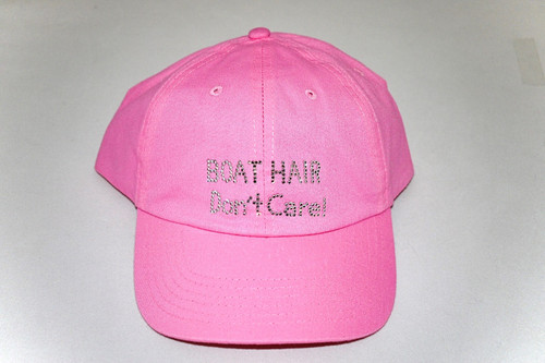 Dolly Mama Ladies Baseball Hat - Boat Hair Don't Care! on Pink