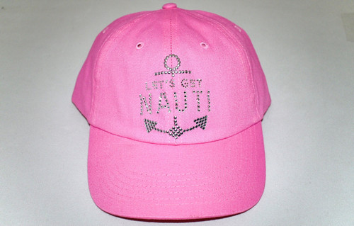 Dolly Mama Ladies Baseball Hat - Let's Get Nauti on Pink