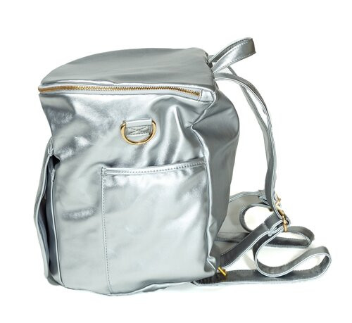 Sassy Caddy: Leather Back Pack - Metallic Silver