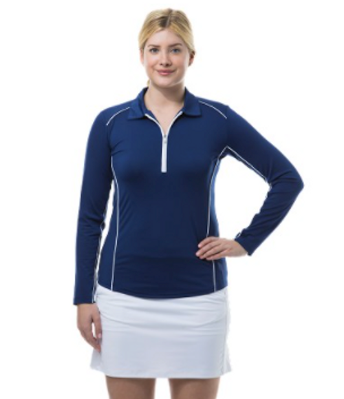 SanSoleil: Ladies UPF 50 SunGlow Zip Polo with Piping - 900443