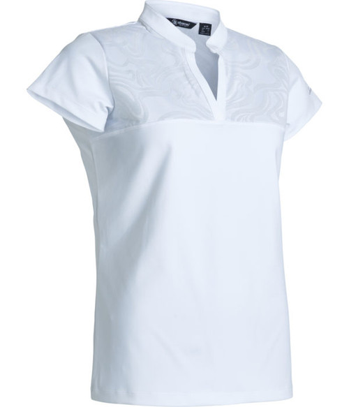 Abacus Sports Wear: Women's Cup sleeve Polo - Lisa (White, Size: Medium) SALE