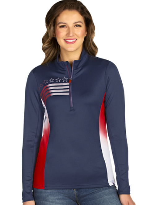 Antigua: Women's Performance Pullover - Liberty 104391 (Size:X-Large, 974 Navy/DkRed/White) SALE