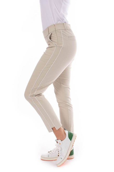 Golftini: Women's Khaki with White Stripe Pull-On Stretch Ankle Pant
