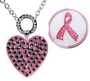 Navika: Allure Magnetic Necklace with Ball Markers adorned with Crystals from Swarovski - Pink Heart & Glitzy Pink Ribbon *