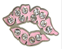Navika: Ball Marker adorned with Crystals from Swarovski® with Hat Clip - Pink Pucker Up Lips*