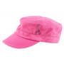 Dolly Mama: Ladies Fidel Military Cap - Pink Ribbon on Pink