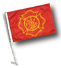 SSP Flag: Car Flag with Pole - Fire Dept Maltese Cross Design
