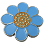 ReadyGolf: Hippie Flower Ball Marker & Hat Clip with Crystals - Blue with Orange