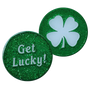 ReadyGolf: Get Lucky / Four Leaf Clover Shamrock  2-Sided Ball Marker