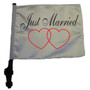 SSP Flags: 11x15 inch Golf Cart Flag with Pole - Just Married