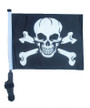 SSP Flags: 11x15 inch Golf Cart Flag with Pole - Pirate Skull & Cross Bones