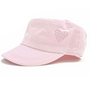 Dolly Mama Ladies Fidel Military Cap - Heart on Pink