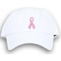 Dolly Mama Ladies Baseball Hat - Pink Ribbon on White