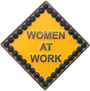 ReadyGolf: Caution Women At Work Ball Marker & Hat Clip with Crystals