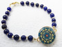 One Putt Designs - Lush Lapis Lazuli with gold glass beads Ball Marker Ankle Bracelet #4LL