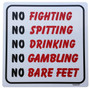 ReadyGOLF: No Fighting, No Spitting Metal Sign