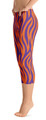 ReadyGOLF: Orange & Purple Tiger Stripes Women's Capri Leggings