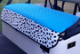 GolfChic: Golf Cart Seat Cover - Turquoise Quilted with TOGO Outdoor Fabric Print Trim