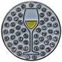 ReadyGolf: Wine (White) Ball Marker & Hat Clip with Crystals