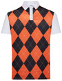 Classic Argyle Mens Golf Polo Shirt - Orange & Black by ReadyGOLF