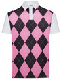 Classic Argyle Mens Golf Polo Shirt - Pink & Black by ReadyGOLF