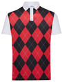 Classic Argyle Mens Golf Polo Shirt - Red & Black by ReadyGOLF