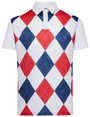 Classic Argyle Mens Golf Polo Shirt - Red, White & Blue by ReadyGOLF