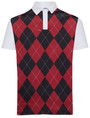 Classic Argyle Mens Golf Polo Shirt - Garnet & Black by ReadyGOLF