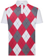 Classic Argyle Mens Golf Polo Shirt - Scarlet Red, Grey & White by ReadyGOLF