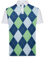 Classic Argyle Mens Golf Polo Shirt - Blue, Lime Green & Grey by ReadyGOLF