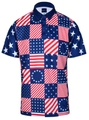 USA Patchwork Mens Golf Polo Shirt by ReadyGOLF