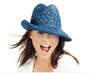 Profile by Gottex:  Women's Andros Crochet  Fedora Sun Hat - Blue