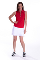 Golftini: Women's Sleeveless Zip Tech Polo - Red (Size: X-Large) SALE