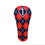 BeeJos: Golf Head Cover - Navy and Red Argyle Print