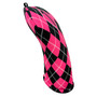 BeeJos: Golf Head Cover - Hot Pink and Black Argyle Print