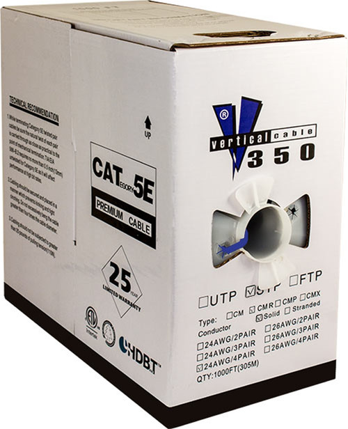 Blue STP CAT5 Cable Shielded Solid Bulk