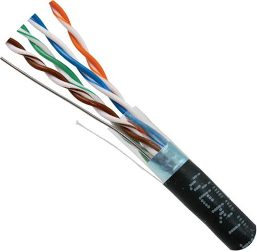 Black STP CAT5 Cable Shielded Solid Bulk