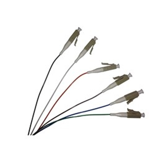 3 Meter, 6 Fiber, color coded 900um LC/UPC 50/125 OM3 10 Gig Multimode Fiber Pigtails