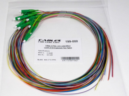 3 Meter, 12 Fiber, color coded 900um LC/APC 9/125 Singlemode Fiber Pigtail