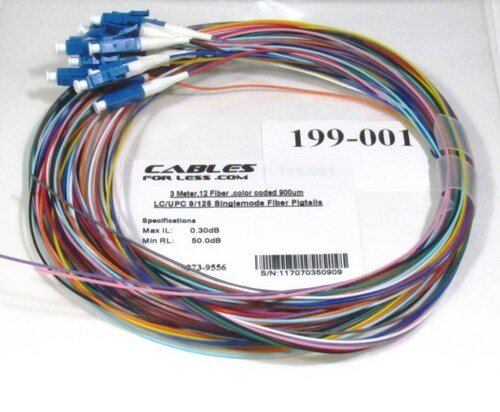 12 Fiber, color coded 900um LC/UPC 9/125 Singlemode Fiber Pigtail