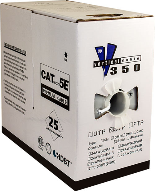 White STP CAT5 Cable Shielded Solid Bulk