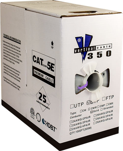 Purple STP CAT5 Cable Shielded Solid Bulk