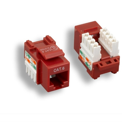 Red Cat 6 Keystone Jack, 110 Punch Down Style, Ethernet Data Jack