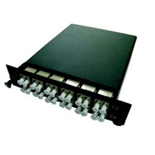 CLOSEOUT - 24 Fiber, LC Multi Mode OM4 50um MTP Male Cassette Total of 12 LC Duplex ports
