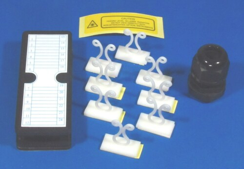 Fiber management kits (1 cable gland PG13.5, 8 Bunny clips, 1 Splice bridge 24 Fibers and 1 warning label)