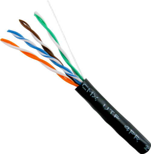 Outdoor CAT5E UV Rated Cable, Bulk CMX, Black 2,000 Foot