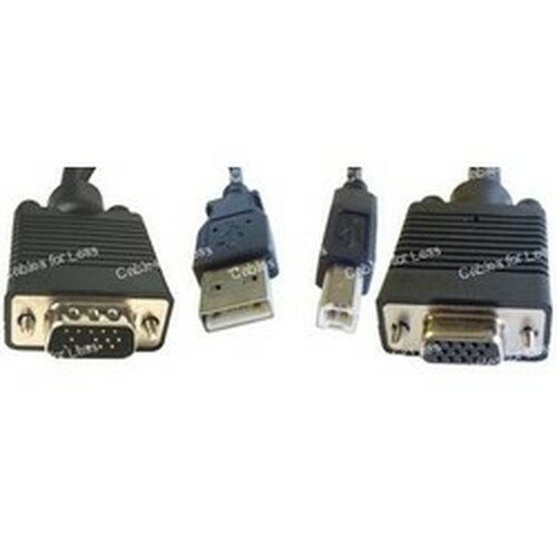 CLOSEOUT - 10 Foot KVM Cable, USB A/B And HD15 M-F